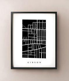 Gibson, Hamilton Neighbourhood Map Art Print by CartoCreative Greenwich Map, Vancouver Map, Vancouver Neighborhoods, Cape Cod Map, Chicago Map, Cartography, Map Art, Night Skies