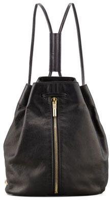 Elizabeth and James Leather Drawstring Backpack, Black
