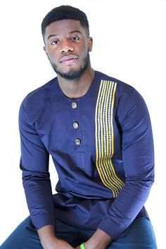 Omorede Navy Blue Tunic Dress African Shirt by AdeshieCollection