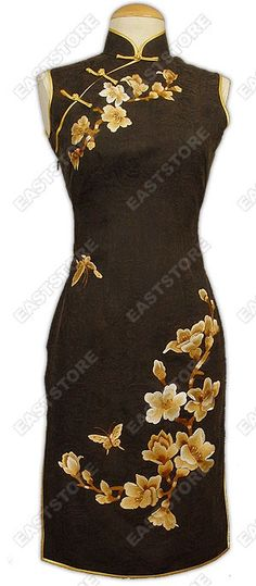 Mandarin collar.  Chinese treated button.  Sleeveless.  Invisible right side zipper.  Blooming Yulan embroidery.  Brown with gold piping.  2 side slits.  Fully lined.  Knee length.