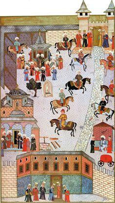 The First Court of the Topkapi Palace-Topkapı Sarayı, Bab-ı Hümayun ve I.Avlu-1584-Hünername-Nakkaş Osman