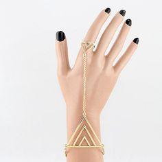 Simple Style Triangle Shape Bracelet With Ring For Women, AS THE PICTURE in Bracelets | DressLily.com