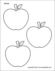 Free printable apple coloring pages and colored apples to use for crafts and various learning activities. Fall Leaf Template, Leaf Template Printable, Apple Template, Printable Shapes, Owl Templates, Heart Template, Applique Templates, Applique Patterns, Apple Coloring Pages