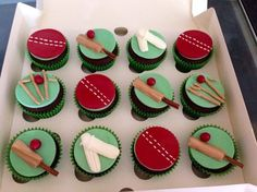 Anyone for cricket? 13 Birthday Cake, 10th Birthday, Birthday Parties, Cupcake Ideas, Cupcake Toppers, Cricket Theme Cake, French Vanilla Cupcakes, Cricket Quotes, Sport Cakes