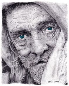 WOW - This is graphite pencil on Strathmore 400 paper - titled Homeless - chiot, highland, CA = WOW