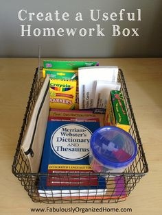 Homework box - made this with back to school sale supplies. Instead of a basket I used a plastic box with snap on lid. Kids must keep all supplies in box - no more hunting around for pencils, tape, glue, etc.!