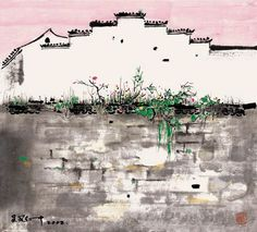 Wu Guanzhong5 Chinese Painting, Chinese Art, Artwork Prints, Cool Artwork, Ink Painting, Watercolor Art, Wu Guanzhong, Chinese Cartoon, Chinese Landscape