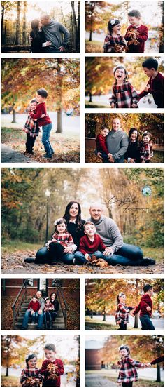 Family of four Fall Portrait session...fun in the leaves. Lifestyle children's photography.  Autumn in Spring Hill TN