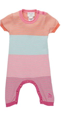 Bonnie Baby Mixed-Stripe Knit Coverall - One Piece - Barneys.com: Colorblocking + stripes + contrast binding = awesome baby outfit.