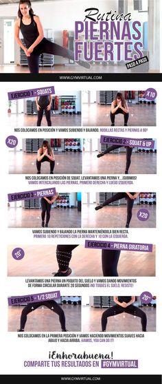 Rutina de piernas fuertes paso a paso ¡No os perdáis la nueva rutina! Primero empezamos realizando 10 sentadillas. Después, realizamos sentadillas levantando la pierna, 20 veces. A continuación, levantamos la pierna de forma lateral y, en el cuarto ejercicio, hacemos rotación de piernas con el mismo movimiento. Finalmente, nos colocamos con las piernas abiertas …