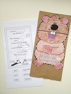 Le jour de la marmotte - Groundhog day shared reading poem and craft.