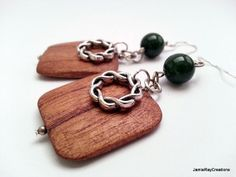 Boho Wooden Square Dangle Earrings with Jade and Pewter Accents by JamieRayCreations, $18.00 https://www.etsy.com/listing/181567214