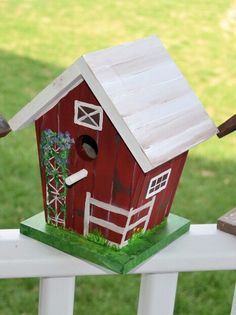 "Hand painted, rustic inspired barn birdhouse, by Alicia Frank at ""Lainellie's"" Etsy shop $38.  ~  bird house cottage shabby chic hand-painted outdoor garden art"
