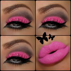 I love the bright pink eye shadow. Pink lips, rhinestone eye, wing liner, lashes. Barbie makeup.