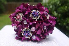 Brooch Bouquet on Etsy, Purple Brooch Bouquet, Purple Satin, Pink, Bridal Show, Wedding Inspiration, Wedding Ideas, Diamond, Wedding Stuff, How To Make