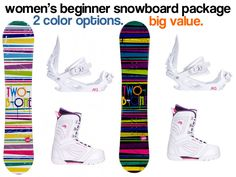 I Found a Great Deal on an All-Mountain Women's Snowboard Package that is Both a Beginner and Intermediate Board. Best Snowboards, Snowboard Packages, Snowboarding Women, Outdoor Woman, 2 Colours, All In One, Mountain, Packaging, Good Things