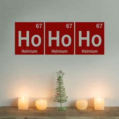 Holiday Sale - Ho Ho Ho -  Periodic Table - Element -  vinyl wall art - Christmas Wall Decal -  science - geek - nerd