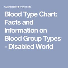 Blood Type Chart: Facts and Information on Blood Group Types - Disabled World