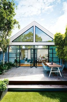 Renovation and extension work of this attractive terrace house in Port Melbourne, Australia was designed by Bloom Interior Design & Decoration. Style At Home, Exterior Design, Interior And Exterior, Exterior Shutters, Window Shutters, Halls, Glass Extension, Rear Extension, Australian Homes