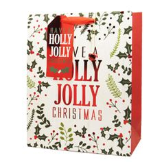 Holly Jolly Christmas Gift Bag - Large Christmas Gift Bags, Father Christmas, Large Gift Bags, Santa Sack, Christmas Traditions, Small Gifts, Birthdays, Traditional, Christmas Bags