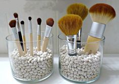 Green makeup organizing ideas <3 use rice, quiona, beans to hold brushes in place of plastic beads