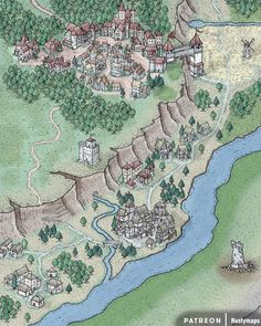 Northedge City by Rustymaps! Fantasy Map Making, Fantasy City Map, Fantasy World Map, Fantasy Castle, Medieval Fantasy, Dnd World Map, Village Map, D&d Dungeons And Dragons, Le Far West