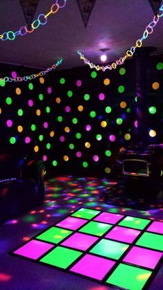 Hung Glowstick Garland Added A Disco Ball Light And Led Blacklight We Re Ready