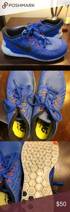 Nike Free Runs 5.0 Royal blue and orange Nike Free Runs. Lightly used, great condition size 8. Nike Shoes Sneakers