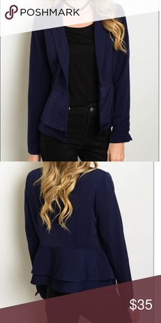 🎉SALE🎉Navy Blazer Long Sleeve Collared Front Button Blazer 97% Polyester 3% Spandex. Made in China Eden Society Jackets & Coats Blazers