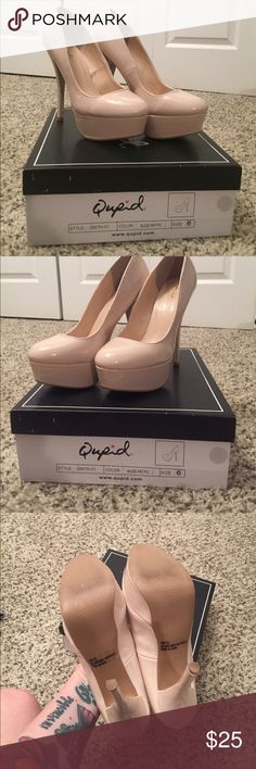 "Super Sexy Pumps Nude patent pumps, size 6. Purchased from UrbanOg, I forget the exact heel height, but I know it's at least 4"". Perfect with a sundress for a summer BBQ or brunch. Original box included upon request. *No trades. All my items come from a smoke-free home. I do have a dog, but he doesn't wear my clothes. If you live in the Austin, TX area I am willing to meet you at a coffeehouse or something to complete a purchase to save us both on shipping* Qupid Shoes Heels"
