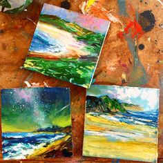 Some mini seascapes heading to Orkney @alisonmooredesigns shop #minis #oilpaint #seascape#orkney#juliedumbartonartist