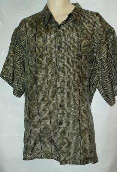 Mens Silk Shirt size XXL 2x Short Sleeve Browns Tan Black design #MESport #ButtonFront