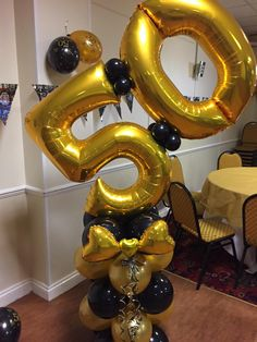 Statement balloon display that will make a BIG impact at your party or event 2 supershape number balloons on a column of latex balloons in the colour 50th Birthday Balloons, Moms 50th Birthday, Custom Balloons, Up Balloons, Balloon Arrangements, Balloon Centerpieces, Black And Gold Balloons, Birthday Balloon Decorations, Balloon Display