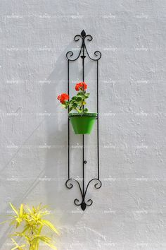Wrought Iron Spanish Styled Vertical Wall Pot Holder with metal Pot - – The mysunnybalcony e-store