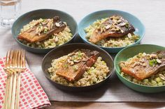 Teriyaki-Glazed Salmon with Brown Rice, Bell Pepper & Cucumber. Visit https://www.blueapron.com/ to receive the ingredients.