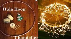 23 Ideas For Diy Outdoor Lighting Hula Hoop Chandelier - Modern Hula Hoop Chandelier, How To Make A Chandelier, Diy Chandelier, Chandeliers, Cheap Diy Home Decor, Diy Home Decor Projects, Handmade Home Decor, Decor Crafts, Dollar Store Crafts