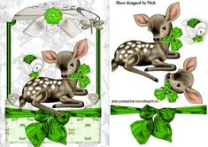 CUTE LITTLE DEER IN GREEN LACE FRAME on Craftsuprint - Add To Basket!