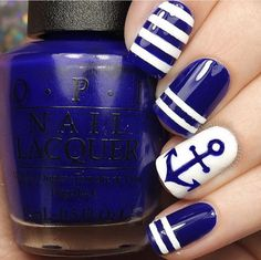 50 Blue Nail Art Designs Conquer the anchors with this blue and white nail art design. The nail art is filled with stripes and cute blue anchor painted atop a white polish base color that simple stands out endearingly. Blue And White Nails, White Nail Art, Blue Nails, White Polish, White Art, Black Nail, Nail Art Blue, Pink Nail, Cool Nail Art
