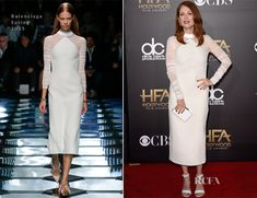 Julianne Moore In Balenciaga – 2014 Hollywood Film Awards.  Why are runway models so austere?  Here is an example of woman (Moore) making the clothes.