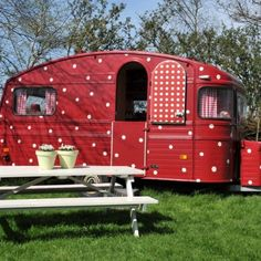 Polka dot caravan for rent in The Netherlands
