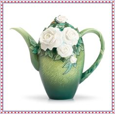 Franz Porcelain Van Gogh White Rose Flower Teapot