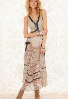 Free People FP 'Spun Eighty Stages Crochet Boho Maxi Dress Gown Festival Small S #freepeople #MaxiDressBeachDress