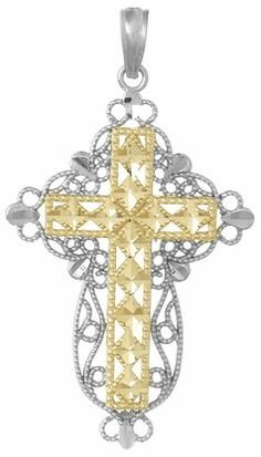 Mia Diamonds 14k Yellow Gold Diamond-cut Filigree Cross Pendant
