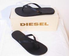 Diesel Shoes Chiloe Flip Flops Designer Black Men New