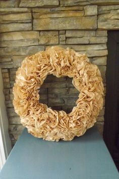 Brown Coffee Filter Wreath by HOMESPUNbyStephanie on Etsy, $28.00