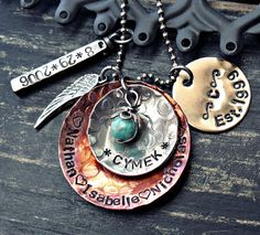 Hand Stamped Necklace - Family Necklace - $100.00, via Etsy.