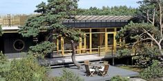 TILPASSET TERRENGET: De 25 meter lange og 5 meter brede hytta er lagt slik at den ikke skal forstyrre naturen omkring. Med den semitransparente oljebeisen