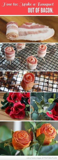 """A bacon bouquet? Can't decide if that's awesome or awful. What do you think? // """"That's MY kind of bouquet"""""""