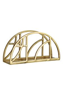 Metal napkin holder - Gold-coloured - Home All Bamboo House, California Living, New Interior Design, H&m Home, H&m Online, Home Bedroom, Metal Signs, Kitchen Accessories, Vienna