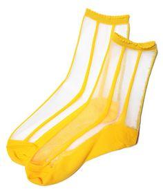 tito select (goods) of (Tito select goods) ... tito × Endo Rika / see-through socks (stripe) (socks) | yellow